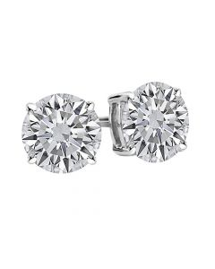 4 Prong Basket Round Diamond Stud Earrings F-G Color VS1-VS2 Clarity